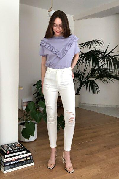 Beyaz Yırtık Detaylı Yüksek Bel Skinny Jeans TWOSS20JE0444
