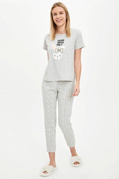 Kadın Gri Baskılı Pijama Takımı R3763AZ.20SM.GR157
