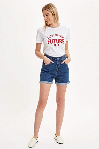 Kadın Beyaz Yazı Baskılı Kısa Kollu T-Shirt R3681AZ.20SM.WT34
