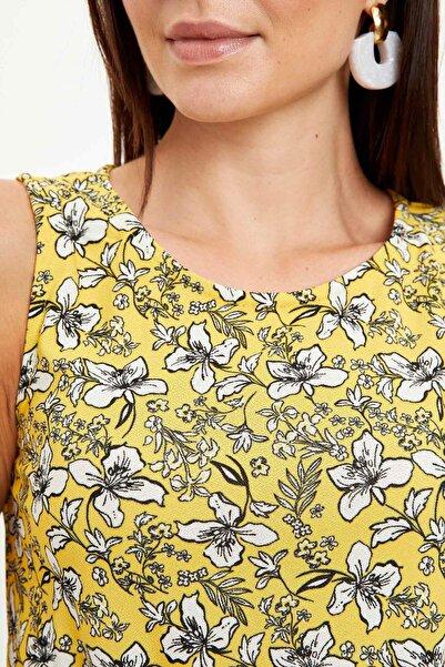 Kadın Sarı Çiçek Desenli Belden Bağlama Detaylı Örme Elbise M9053AZ.20SM.YL70