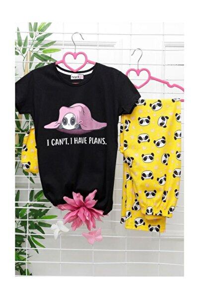 Lukas Kadın Sarı Siyah Pijama Takımı - 2520.1059.