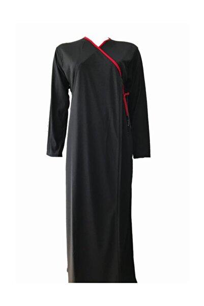 Namaz Elbisesi Softjarse Bağlamalı Kırmızı Biyeli Model Siyah