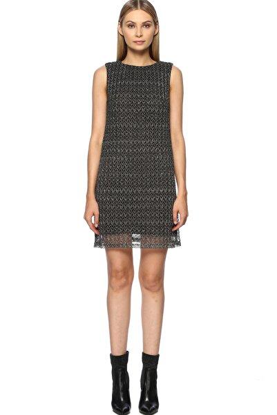 Network Kadın Mini Boy Siyah Altın Rengi Elbise 1070811