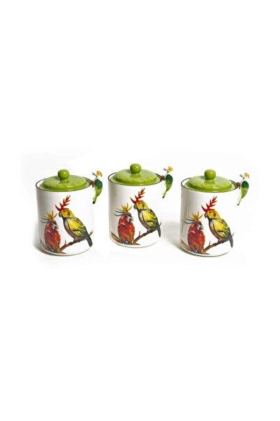 Lucky Art Parrot 3'lü Porselen Kavanoz Seti 19 Cm