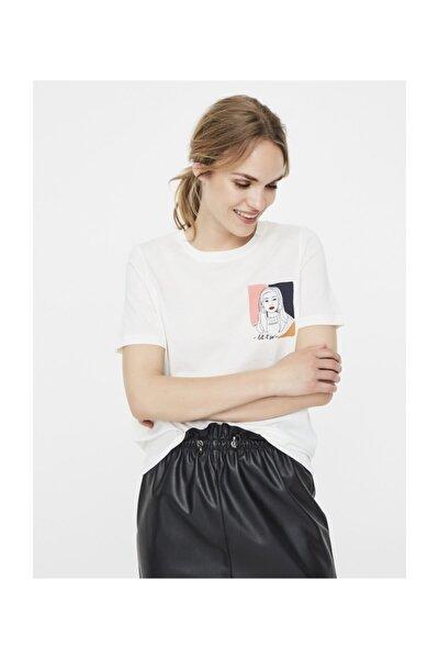 Vero Moda Kadın Beyaz Beyaz Kısa Kollu Baskılı Organik Pamuk T-Shirt 10223497 VMFONDAOLLY