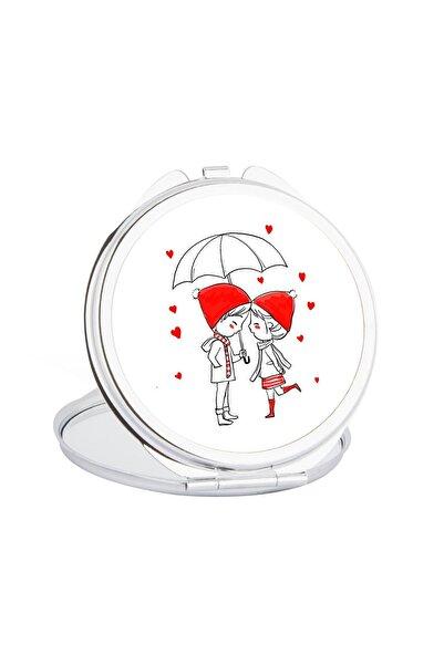 Hediyehanem Aşk Yağmuru Sevimli Çift Cep Ayna