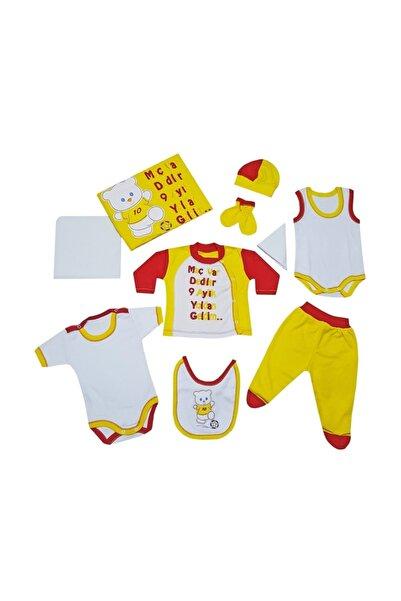 Taraftar Bebek Hastane Çıkışı 10 Parça Zıbın Seti Sarı-kırmızı