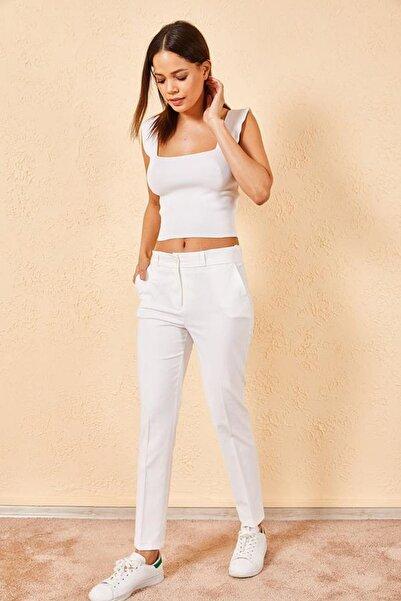Zafoni Kadın Beyaz Pantolon
