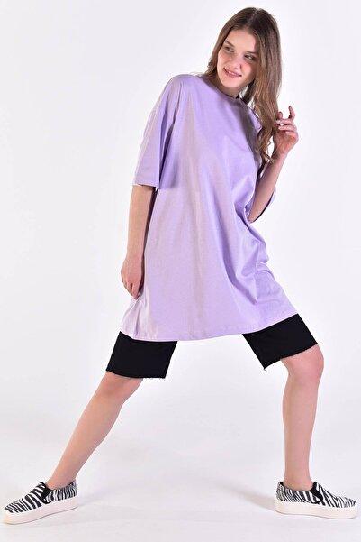 Addax Kadın Lila Oversize Tişört P0731 - J3 ADX-0000020596
