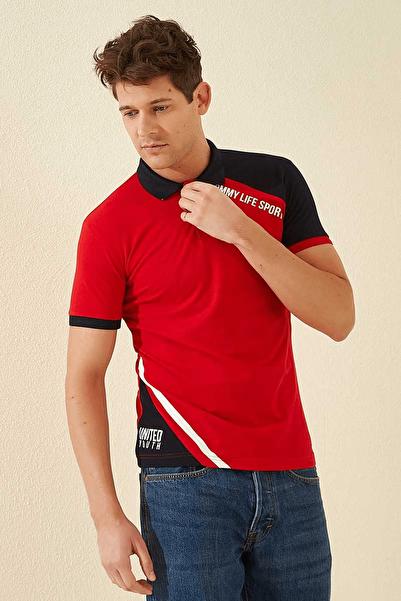 Tommy Life Kol Garnili Polo Yaka Kırmızı Erkek T-Shirt T08ER-87799_1