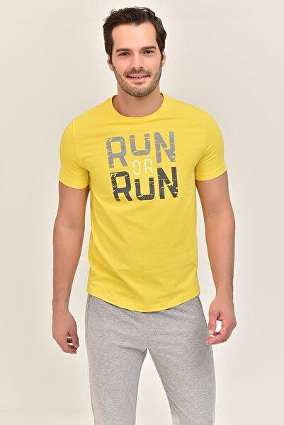 bilcee Sarı Pamuklu Erkek T-Shirt ES-1362