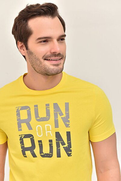 Sarı Pamuklu Erkek T-Shirt ES-1362