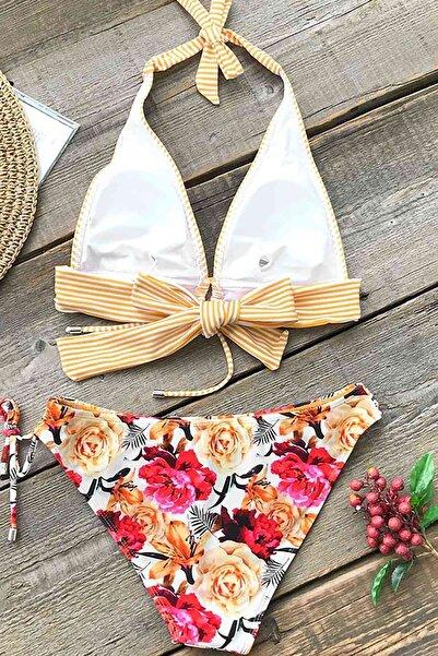 Önden Bağlamalı Bikini Takım Çok Renkli