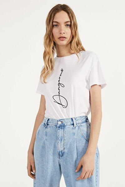 Kadın Beyaz Baskılı T-Shirt 02251987