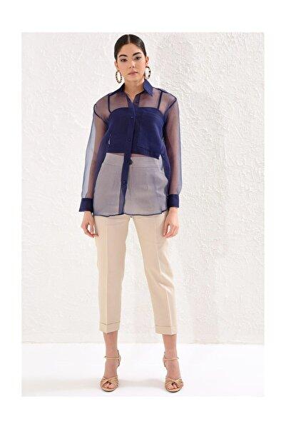 Setre Kadın Lacivert Astarlı Uzun Kol Yaka Organze Gömlek