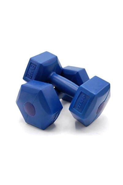 2 Kg x 2 Adet Köşeli Mavi Plastik Dambıl Ağırlık Seti