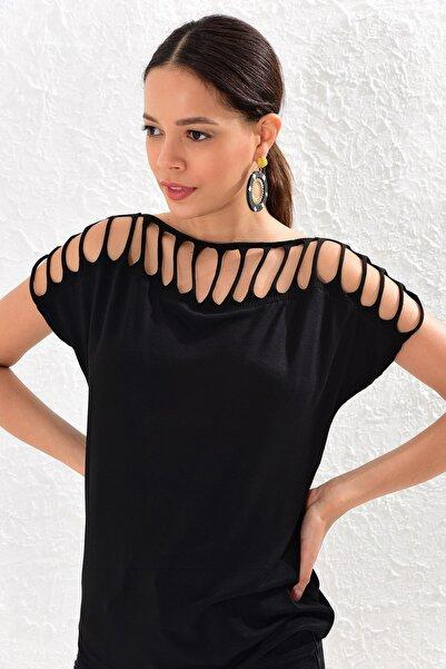 Cool & Sexy Kadın Siyah Lazer Kesim Bluz BK996
