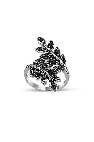 Tesbihane 925 Ayar Gümüş Yaprak Sarmal Yüzük