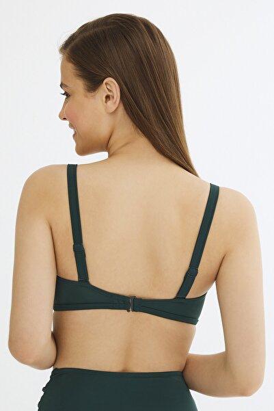 Kadın Koyu Yeşil Basic Lotus Bikini Üstü