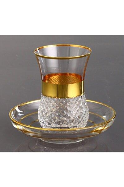 Kristal Vizyon Dekor Altın Bant 6 Kişilik Çay Takımı