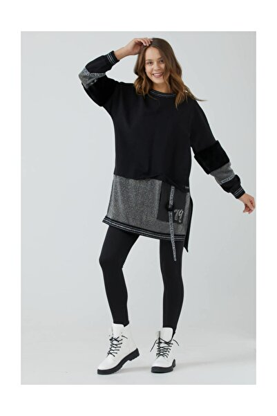 Sementa Kadın Sıfır Yaka Kürk Detaylı Simli Tunik - Siyah