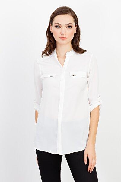 Moda İlgi Dik Yaka Kapaklı Gömlek Ekru