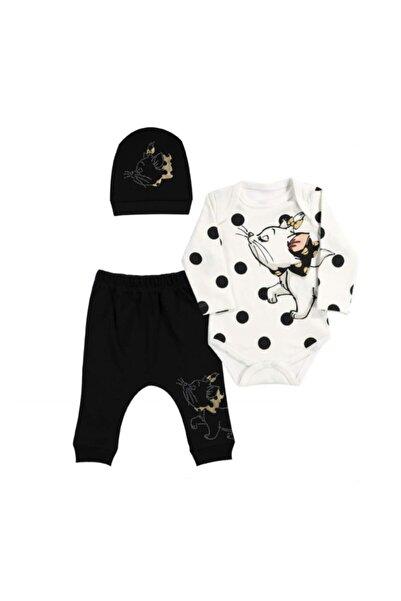 Miniworld Kız Bebek Siyah Papyonlu Kedi Badili 3 Parça Takım