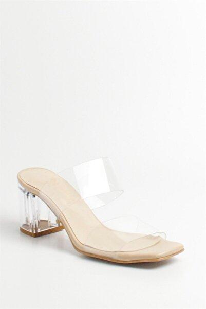 Kadın Ten Rengi Şeffaf Topuklu Bantlı Sandalet