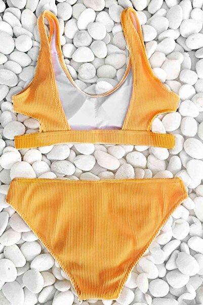 Özel Kumaş Şık Bikini Takım Sarı