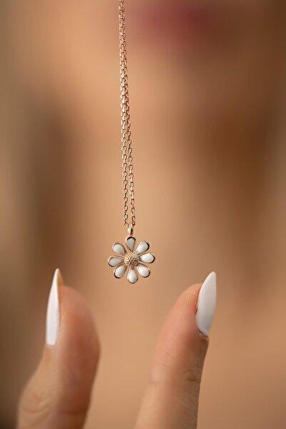 İzla Design Papatya Model Rose Kaplama Gümüş İtalyan Kolye