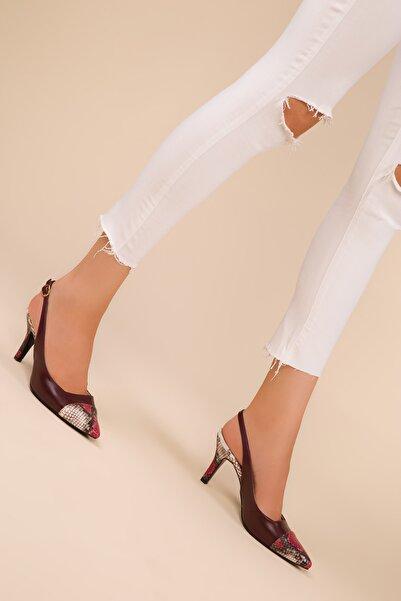 Bordo Yılan Bordo Kadın Klasik Topuklu Ayakkabı 15007