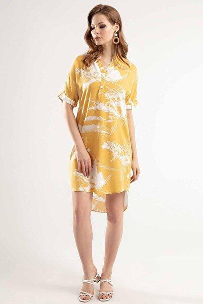 Y-London Kadın Hardal Yarı Düğmeli Duble Kısa Kol Kısa Elbise Y20S110-1560