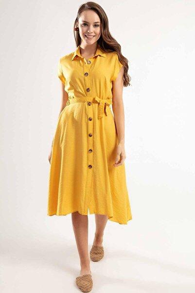 Y-London Kadın Hardal Kuşaklı Kısa Kollu Elbise Y20S110-1677