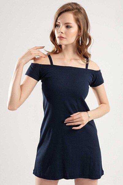 Y-London Kadın Lacivert Askılı Bant Kol Elbise Y20S102-17605