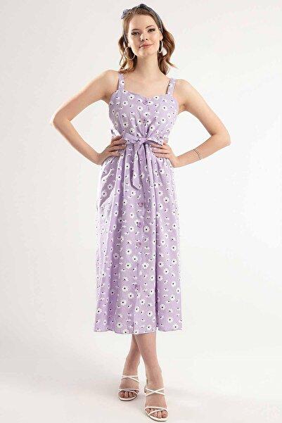 Y-London Kadın Lila Düğmeli Askılı Uzun Elbise Y20S110-1952