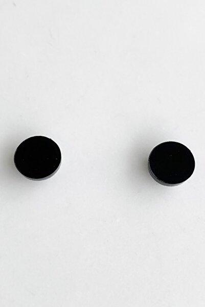 TAKIŞTIR Siyah Renk Yuvarlak Figürlü Mıknatıslı Küpe