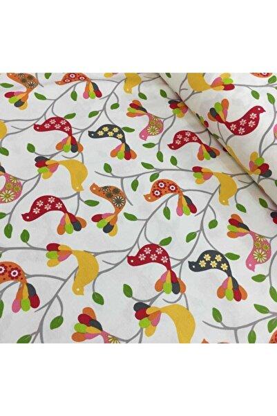 Yuka Home Renkli Kuşlar Desenli Duck Kumaşı