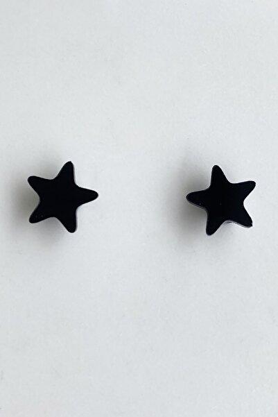 TAKIŞTIR Siyah Renk Yıldız Figürlü Mıknatıslı Küpe