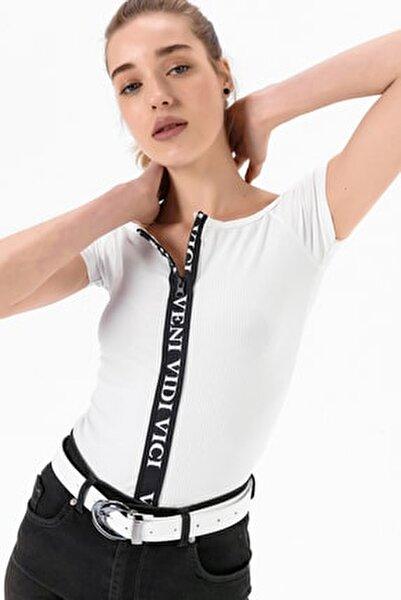 Kadın Beyaz Önü Fermuarlı Madonna Yaka Bluz She020y010001