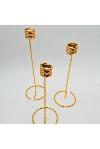 Tel 3'lü Şamdan Seti - Gold
