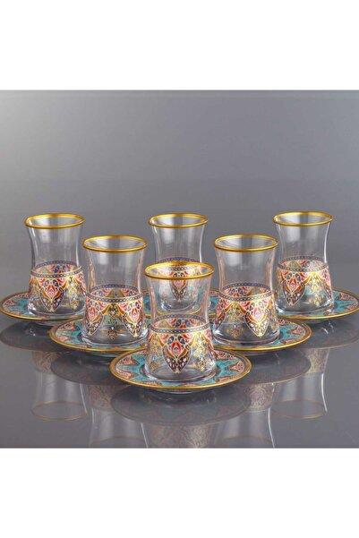 Kristal Evla  Altın Dekor 12 Parça Çay Bardağı