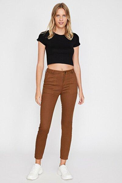 Koton Kadın Kahve Cep Detaylı Pantolon 0KAL41118MW