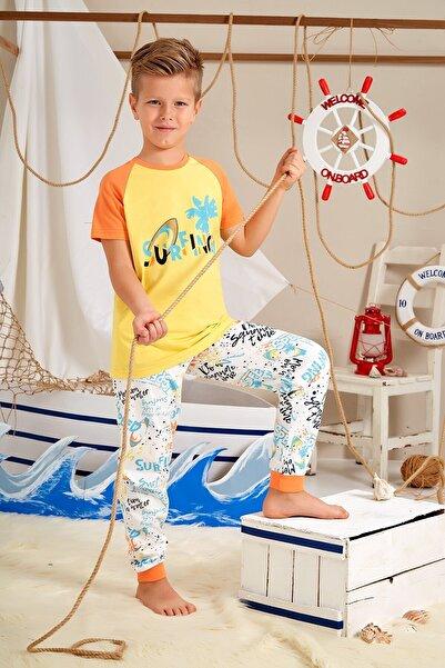 Lohusa Sepeti Erkek Çocuk Turuncu Sörfçü Pijama Takımı - 0032 Yaş 9-14