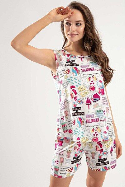Y-London Kadın Beyaz Arkadan Düğmeli Sıfır Kol Üst Lastikli Alt Pijama Takımı