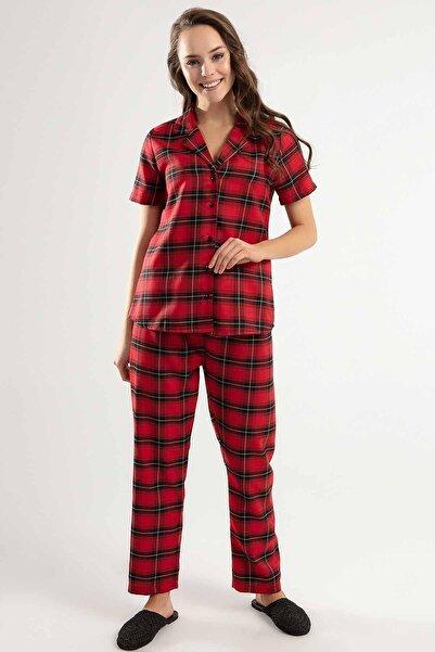 Y-London Kadın Bordo Düğmeli Üst  Lastikli Alt Pijama Takımı