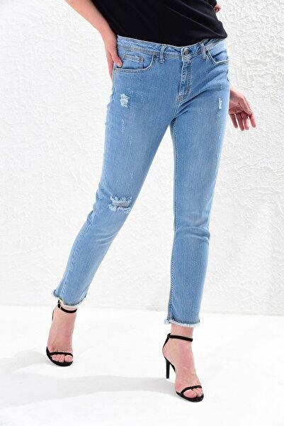 Big Free Kadın Mavi Yüksel Bel Püskül Paça Jean Pantolon Tb20Yb011235