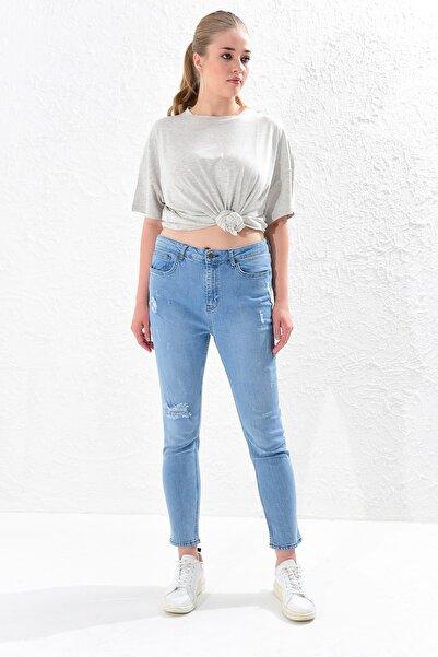 Big Free Kadın Mavi Yüksel Bel Yırtık Jean Pantolon Tb20Yb011234