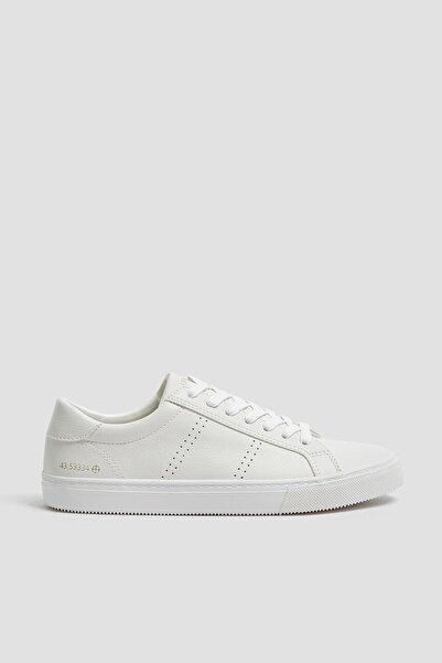 Pull & Bear Kadın Beyaz Beyaz Mikro Delikli Spor Ayakkabı 11224540