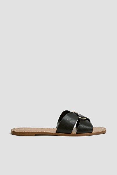 Pull & Bear Kadın Siyah Halkalı Siyah Bantlı Sandalet 11559540
