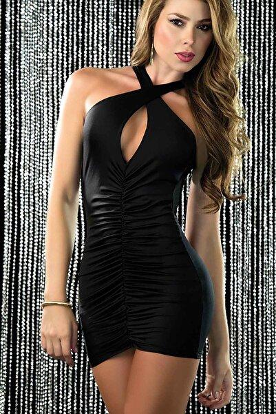 Merry See Kadın Siyah Sırt Dekolteli Mini Ebise